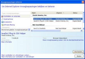 Java uitschakelen in Internet Explorer (klik voor groter)