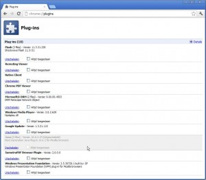 Java uitzetten in Google Chrome (klik voor groter)